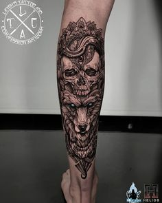 Skull and wolf mandala/geo blackwork calf piece on miss Georgina Insta: Fb: leighstca For all bookings an enquiries contact me directly at my Fb page: leighstca Sponsored by: . Wolf Tattoos Men, Forarm Tattoos, Viking Tattoos, Skull Tattoos, Body Art Tattoos, Girl Tattoos, Tattoos For Guys, Native Tattoos, Buddha Tattoos