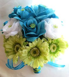 Bridal bouquet TURQUOISE GREEN DAISY wedding by Rosesanddreams, $120.00