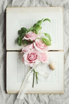 Books & Pink Flowers