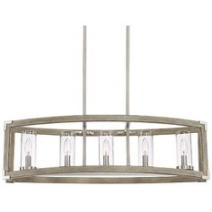 "Kerr 32 3/4"" Wide Wood and Brushed Nickel 5-Light Chandelier"