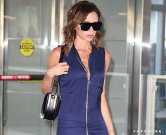 Pin for Later: Victoria Beckham's 1 Rule For Travel Style Is About to Change Your Life Victoria Beckham Wearing a Blue Jumpsuit, August 2016