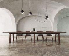 MITIS by Punt Tavolo rettangolare in legno massello con base a cavalletto, 200 x 100 x 75 cm 240 x 100 x 75 cm 300 x 100 x 75 cm