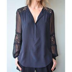Rebecca Taylor Long Sleeve Silk & Lace Blouse #rebeccataylor