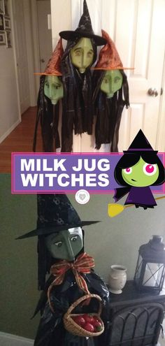 If you like to make your own Halloween decorations, this is for you. Try making Milk Jug Witches this year. It is so much fun designing these from recycled materials. Have fun using your milk jugs to make these fun DIY witches. Decorate with recycled materials this year! #witches #milkjug #diy #recycle #halloween #decorations #smartschoolhouse