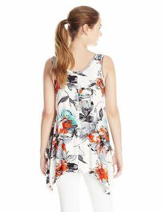 Karen Kane 2K50083 Floral Handkerchief Hem Stretch Knit Tank Top, M - $98   eBay Karen Kane, Scoop Neck, Spandex, Tank Tops, Floral, Ebay, Women, Fashion, Moda