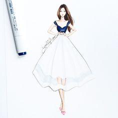 An addition to my paper closet: love this semi-sheer white skirt  #fashionsketch #fashionillustration #copicart #copicdesign #fashionillustrator #bostonblogger