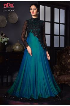 Latest Blue and Black Designer Anarkali Gown with Embroidery Work. Indian Gowns Dresses, Pakistani Dresses, Bridal Dresses, Long Dresses, Dress Wedding, Indian Outfits, Party Dresses, Stylish Dresses, Fashion Dresses