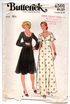 "1970's Butterick One-Piece Maxi Evening Dress with Long or Flutter sleeves Pattern - Bust 41"" - UC/FF - No. 4501 by backroomfinds on Etsy"