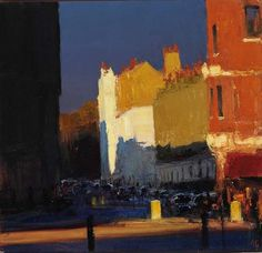 Andrew Gifford - Towards Eaton Square II  (30) - 2004  Oil on panel 10 x 10 ins (25.40 x 25.40 cms)