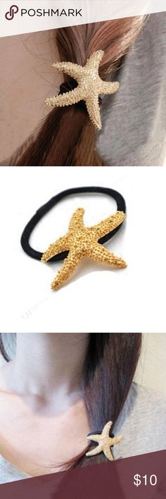 SALE! NWT 2 Gold Starfish Hair Ties NWT Retail- Rock the mermaid style this summer with these golden starfish hair ties! Made with the look of a real starfish shells attached to black hair bands, these will definitely add style to your beach or pool look.   *Price is for TWO starfish hair ties.  *NO TRADES!!! Meredith's Boutique Accessories Hair Accessories