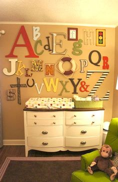 Love the idea of an alphabet wall. for baby shower ask every guest to bring a different letter and see how unique your wall becomes