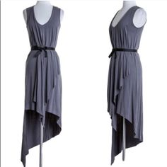 XX The LYNDE sleeveless asym dress - GUN METAL Viscose Span Sleeveless Long Fashion Dress 95% Rayon,  5% Span 🚨PIC 2-  4 is ACCURATE COLOR🚨 Made in USA. 🚨NO TRADE🚨 striped Bellanblue Dresses