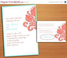 Coral Corner Motif Wedding Invitations sample by MoKnowsDesigns, $0.67