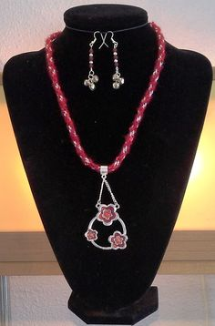 Caress Red Sequins Yarn and Silver Zari  Cord 8 Warp Round Kumihimo Braid Necklace with Silver 3 Rose Pendant and Matching Earrings
