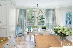 Modern Traditions With D.C. Designer Mary Drysdale.  Tiny blue painted trim. Harlequin floors