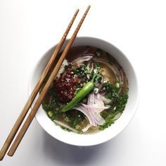 Lemongrass Chicken Noodle Soup With Thai Green Chillies And Sambal Sauce