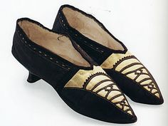 English brown and yellow kid shoes, c. 1792