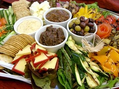 Vegetarian Antipasto Crudites Platter served with a Selection of Freshly Baked Breads