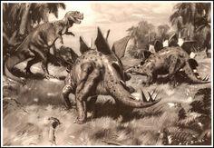 Ceratosaurus & Stegosaurus   Zdeněk Burian (1905-1981)   Prehistoric Animals (1960)