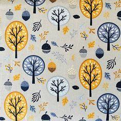 Jednolícny bavlnený úplet s potlačou jesenného lesa: stromy, žalude, plody... Krásna farebná kombinácia. Šírka: 160 cm, gramáž 215 g Zloženie: 96 % bavlna, 4 % elastan Cena ...