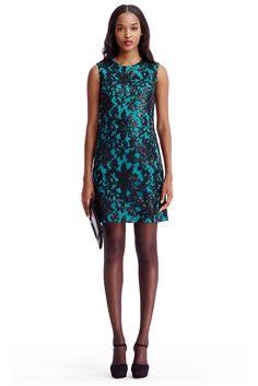 DVF Kaleb Embellished Lace Shift Dress In Black/ Blue Lagoon