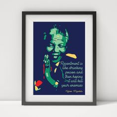 Nelson Mandela, Nelson Mandela print, Nelson Mandela poster, Nelson Mandela quote, Mandela art, quote poster, typographic poster by greatomlondon on Etsy