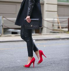 Leather pants with leather coat, chanel clutch and red heels!!! One day!!!