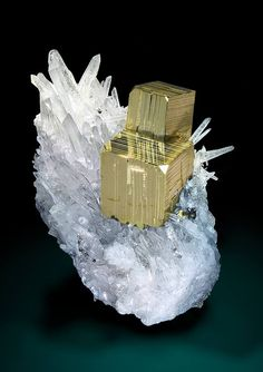 Pyrite cubes on Quartz