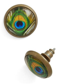Proud to Be Posh Earrings. You dont think twice about flaunting these peacock stud earrings in your lobes - even if the only plans on your agenda include simple errands around town! #multiNaN