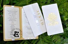 white suede menu gold foil Gold Foil, Menu, Menu Board Design