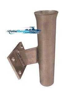 "9"" Aluminum Boat Fishing or Pole Rod Holder - ANGLED 15 Degrees flush Surface Mount for transom, gunnels, docks, or piers"