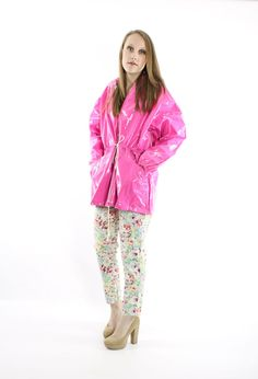 80s Vinyl Raincoat NOS Hooded Bright Pink PVC Coat by ScarletFury