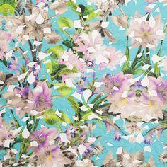 Blue/Beige Multicolor Tropical Floral Lace w/ Finished Edges