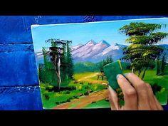 #1 Como pintar paisaje fácil con esponja. acrilico - YouTube Simple Acrylic Paintings, Acrylic Painting Techniques, Acrylic Art, Oil Painting On Canvas, Ganesha Art, Weird Art, Diy Arts And Crafts, Ciel, Landscape Paintings