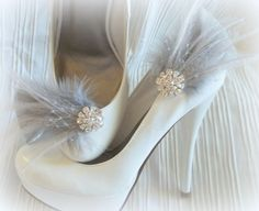 Bridal Feathered Shoe Clips - set of 2 - Sparkling Crystal Rhinestone Accents - Silver grey feathers by ShoeClipsOnly on Etsy https://www.etsy.com/listing/95599975/bridal-feathered-shoe-clips-set-of-2