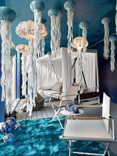 Paper lanterns with streamers to mimic jellyfish
