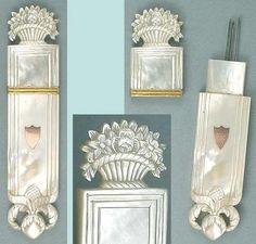 Antique Mother Of Pearl Palais Royal Needle Case w/ Flower Basket * Circa 1820