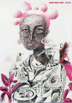 """Ntozake Nozumi Oliveira de Souza Loves Hamachi On the Veranda Overlooking Guanabara Bay ©2014    Inks on paper  12""""w x 16h"""". """"…spent the day with Dona de Souza under the mango tree on the veranda of her villa in Santa Teresa. Que Beleza, as always…resplendent and relaxed in her kimono, her hair dyed pink and coiffed in the 'Mkpuk eba' style of the Ibibio, as we dined on yellowtail sushi, drank caipirinhas, listened to Tim Maia and enjoyed the view of the shimmering bay and each other's…"""