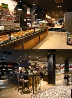 Mallorca Market bar/restaurant/gourmet store in Madrid. Industrial/retro decoration. restaurante/bar/tienda de delicatessen Mallorca Market, en Madrid. Decoración industrial/retro