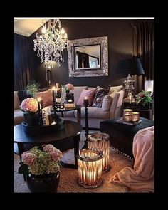 Recent living room paint ideas grey sofa only in zelta home design 2020 Living Room Design Ideas Glam Living Room, Living Room Decor Cozy, Living Room Goals, Living Room Interior, Home And Living, Romantic Living Room, Living Room Decor With Black Sofa, Black Living Rooms, Black Living Room Furniture