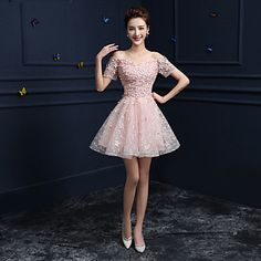 Formal+Evening+Dress+-+Candy+Pink+A-line+Off-the-shoulder+Knee-length+Lace+–+USD+$+69.99
