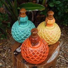 These table top oil lamps are the perfect lighting option for your patio or garden space. If used with citronella, you can enjoy the summer nights bug and smoke free. DAHLIA MEXICAN CLAY POTTERY OIL LAMP - $54.99