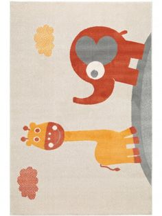 Kinderteppich Giraffe and Elephant Orange 80x150 cm