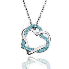 Valentines Day Gift Heart Interlocking Crystal Pendant Plated Platinum Necklace #ValentinesGift