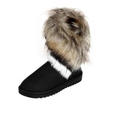 78e50a042b0c0 Womens Winter Boots Egmy Fashion Boots Flat Ankle Fur Lined Winter Warm  Snow Shoes US 55 Black   Continue to the product at the image link.