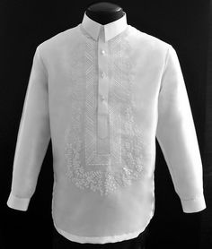 White Organza Barong Tagalog #1098 A sharp style for an impeccable formal look Traditional straight point collar, cuff buttons Half-open button front Lined barong #BarongsRUs #barong