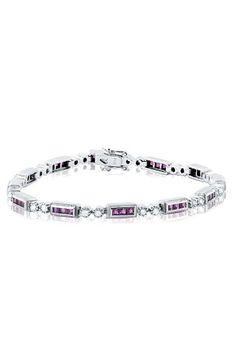 White Gold Ruby and Diamond Bracelet, 3.21 TCW