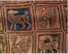 11th c., second half. Reliquary of St. Isadore, embroidered textile in lid, detail showing four animals. Possibly Almoravid