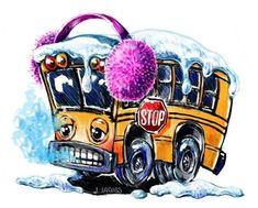 School Bus Driver, Wheels On The Bus, Framed Prints, Canvas Prints, Greeting Cards, Clip Art, Tapestry, Winter, Illustration