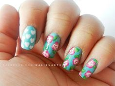 Gorgeous spring flower nails in our Nail Art Society nail art competition. Enter or vote for your favorites at www.makeupbee.com